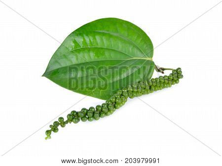 pile of fresh peppercorns with leaf on white background