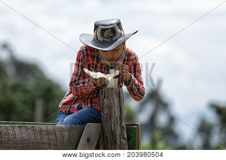 May 27 2017 Sangolqui Ecuador: indigenous young boy sitting on fence eating deep fried pork skin a delicacy in the Andes