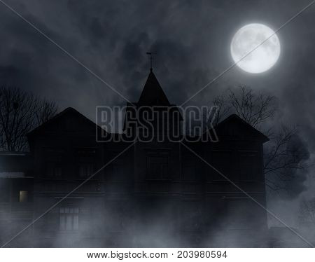 Abandoned wooden house in the moonlit night.Halloween background.