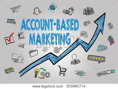 Account-Based Marketing Concept. Arrow with keywords and icons on gray background.