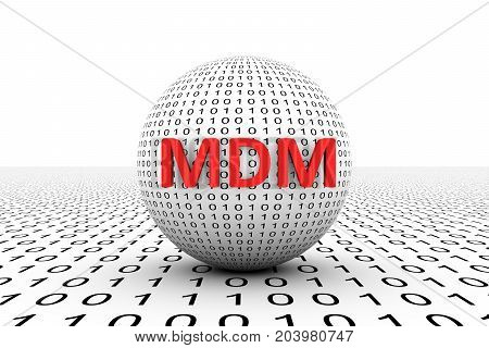 MDM conceptual sphere binary code 3d illustration