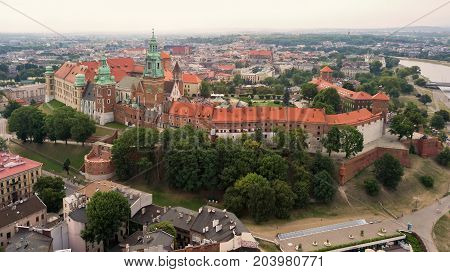 Krakow Wawel Castle from a height with the help of a drone