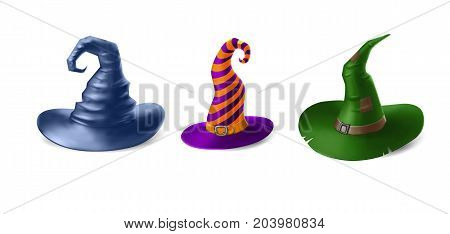 Witch hats isolated on white background. Halloween vector illustration
