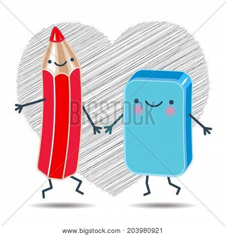 Vector illustration of a cheerful pencil and an eraser holding hands dancing on a background of hearts drawn in pencil