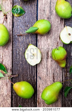 Pear On Wooden Rustic Background. Top View. Frame. Autumn Harvest.