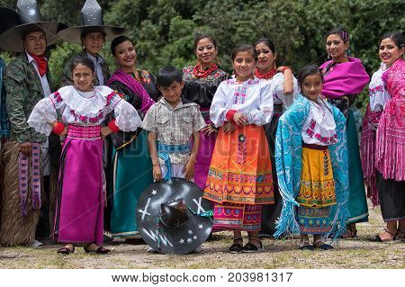 May 27 2017 Sangolqui Ecuador: indigenous dancers posing at a rural rodeo where they will open the events with their performance
