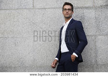 Handsome and Serious businessman in smart suit portrait