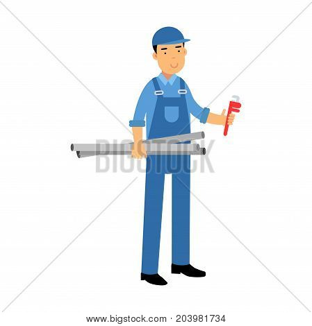 Proffesional plumber character in a blue overall standing with monkey wrench and water pipes, plumbing service vector Illustration on a white background
