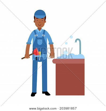 Proffesional plumber character cleaning drain in the sink using plunger, plumbing service vector Illustration on a white background