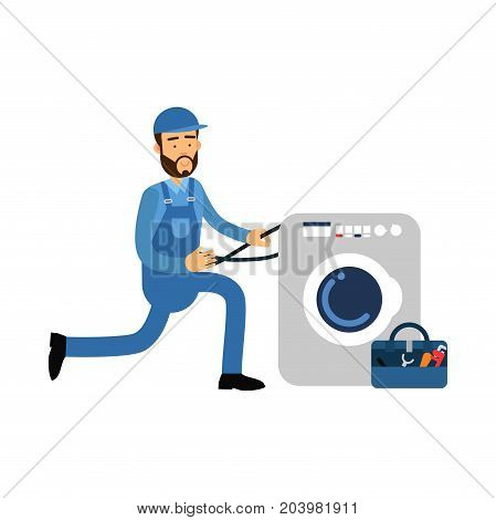 Proffesional plumber character installing w, plumbing service vector Illustration on a white backgroundashing machine