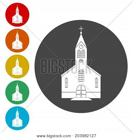 Church icons set, simple vector icon on circle