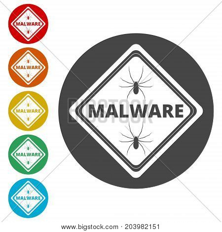 Malware Attention Hazard sign, icons set on circle