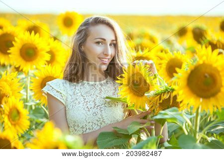 Lovely woman in a field of sunflowers close-up portrait.