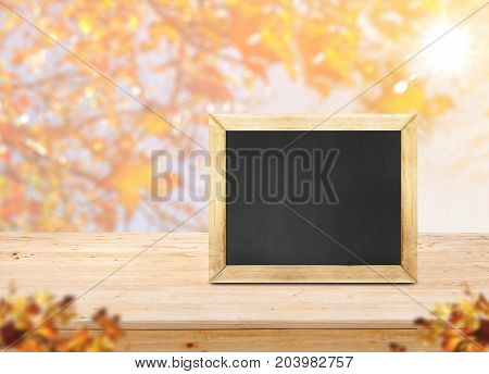 Blackboard on wood table top with blur maple leaf with sunlight and blurred maple leaves at foregroundAutumn backgorundMock up for display or montage of productbanner for advertise on online.