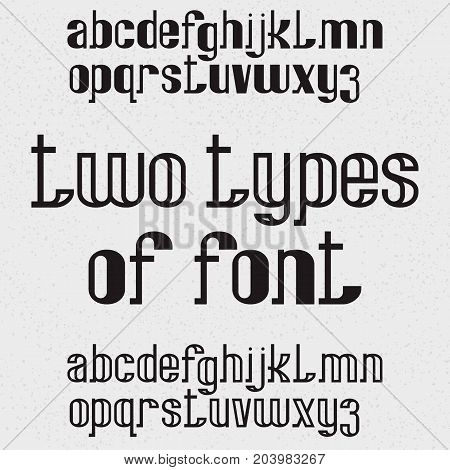 Two types of font - full and hollow. Black lowercase letters. Isolated english alphabet.
