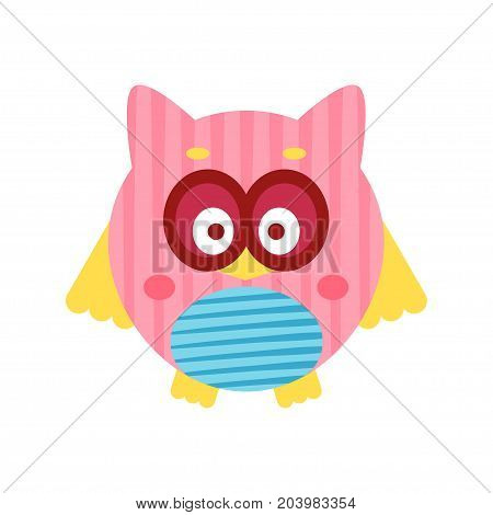 Cute cartoon pink owl bird baby toy, colorful vector Illustration for baby clothes print, greeting and invitation cards, baby shower celebration