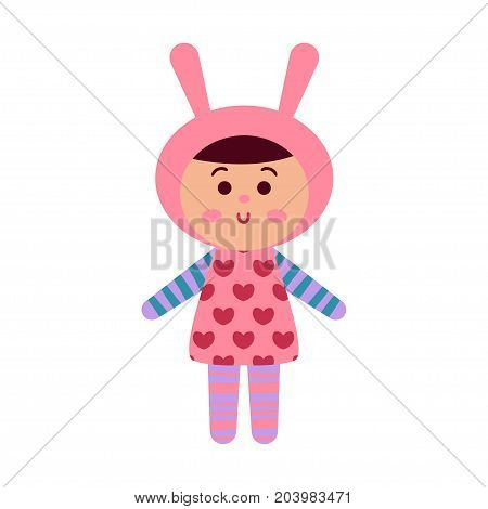Cute cartoon baby doll toy, colorful vector Illustration for baby clothes print, greeting and invitation cards, baby shower celebration