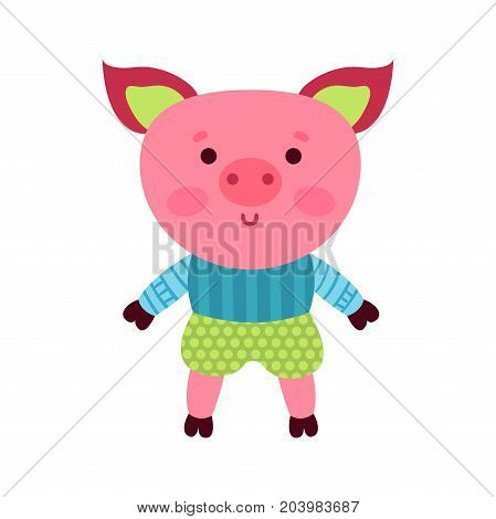 Cute cartoon pig animal toy, colorful vector Illustration for baby clothes print, greeting and invitation cards, baby shower celebration