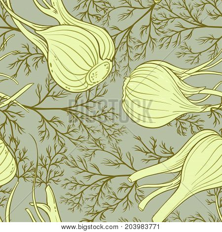 fennel plant vector pattern on color background