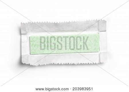 Chewing Gum Plate Wrapped In Foil Isolated