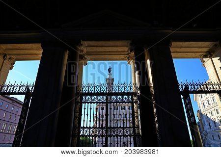 Statue of Santa Maria Maggiore, in front of basilica di santa maria maggiore in Rome