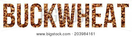 buckwheat grains text banner sample over white