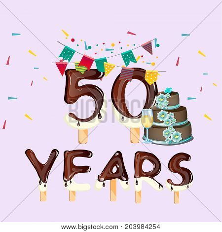 Happy Birthday fifty 50 year card. Vector illustration