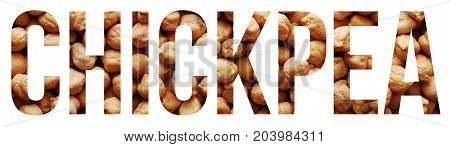 chickpea grains text banner over white background