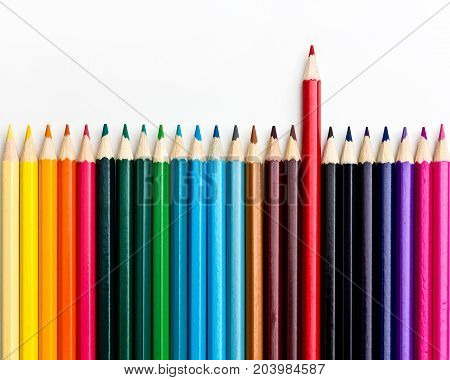 outstanding colored pencil on white background,  Leadership uniqueness independence