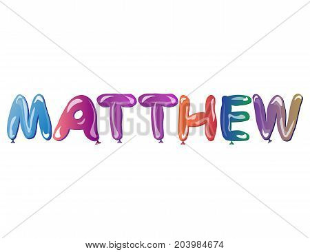Vector Matthew name text balloons. Man name