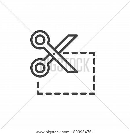 Coupon cut line icon, outline vector sign, linear style pictogram isolated on white. Symbol, logo illustration. Editable stroke. Pixel perfect vector graphics