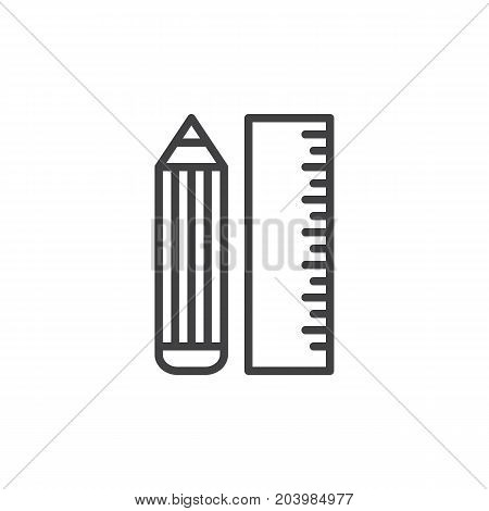 Pencil and ruler line icon, outline vector sign, linear style pictogram isolated on white. Stationery symbol, logo illustration. Editable stroke. Pixel perfect vector graphics