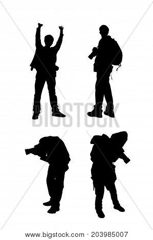 Silhouette images of man with his camera on white background.