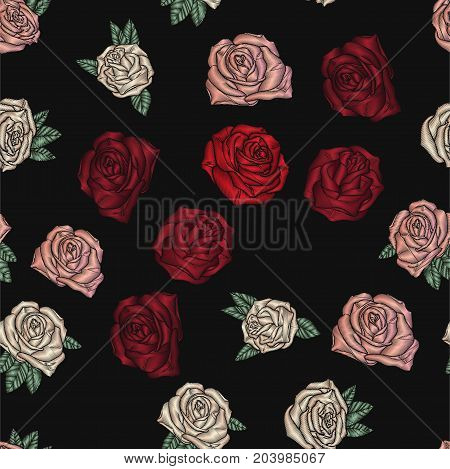 Embroidery seamless pattern with roses. Vector embroidered traditional floral design for fashion fabric. Flowers on black background.