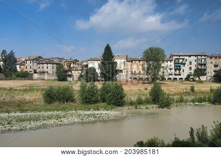 Parma (Emilia Romagna Italy): facade of houses along the Parma torrent