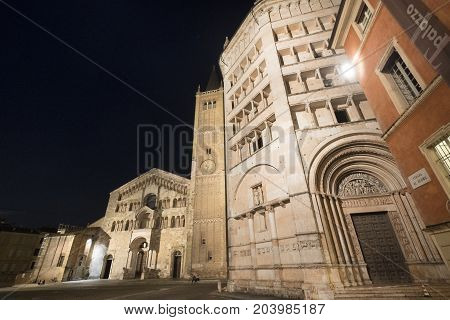 PARMA, ITALY - JUNE 28, 2017: Parma (Emilia Romagna Italy): the cathedral square at evening