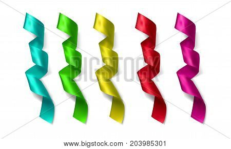 Silk vector colorful ribbons made with gradient mesh isolated on white background.