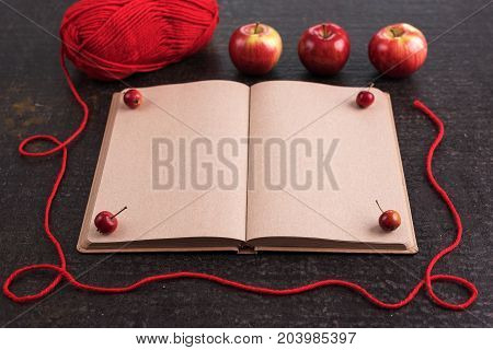 Autumn composition with leaves, apples, red yarn and an old empty book.