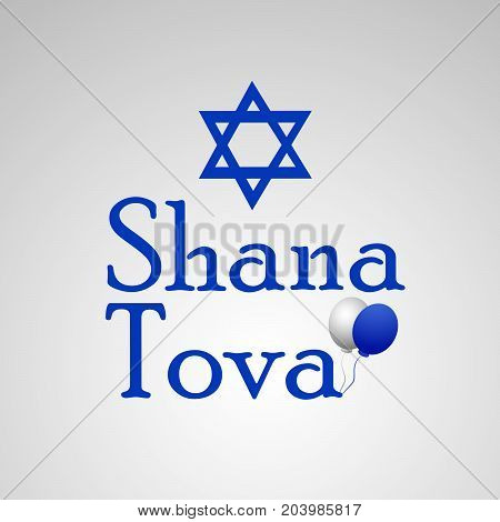 illustration of star and Shana Tova text on the occasion of Jewish New Year Shanah Tovah
