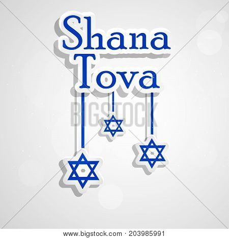 illustration of Shana Tova text and hanging stars on the occasion of Jewish New Year Shanah Tovah