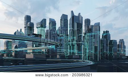 Futuristic skyscrapers in the flow of information. 3d render. 3d illustration. The flow of digital data. city of the future