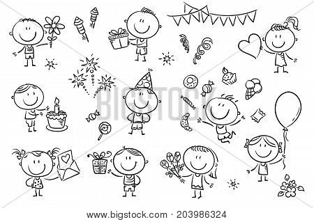 A set ot funny sketchy kids celebrating birthday party with sweets, cakes and flowers.