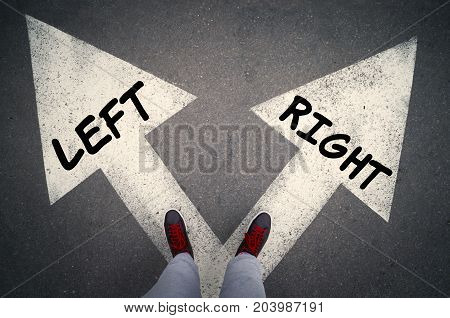 RIGHT versus LEFT written on the white arrows choices or dilemmas concept.