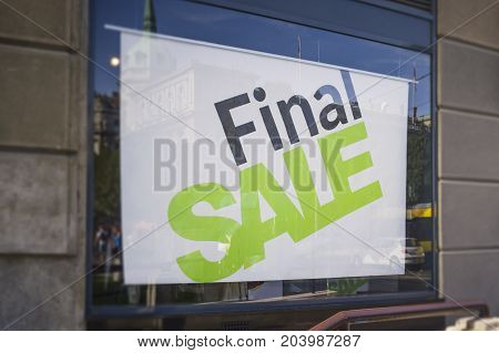 Retail Image Of A Final Sale Sign In A Clothing Store Window (With Shallow DoF)