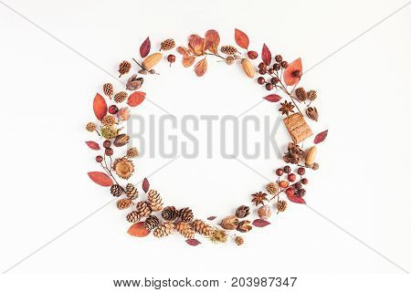 Autumn composition. Wreath made of autumn leaves pine conces anise star. Flat lay top view copy space