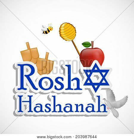 illustration of bee, pigeon, honey, apple and bags with Rosh Hashanah text on the occasion of Jewish New Year Shanah Tovah