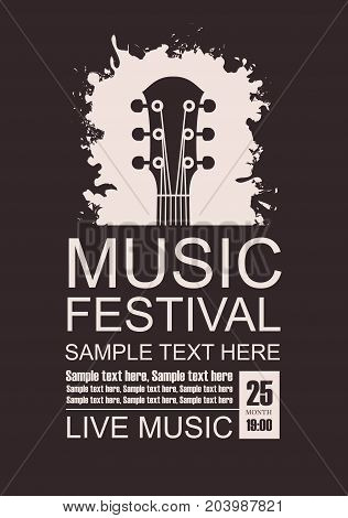 Vector banner with a guitar neck on a black background the words festival of live music and place for text in grunge style