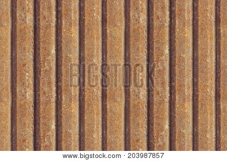 Rusty metal fence seamless background. Rusty metal texture. Iron zinc surface rust. Old industrial dirty metal seamless panel