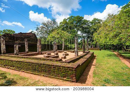 Scenic view of ruins in the world heritage city Polonnaruwa, Sri Lanka