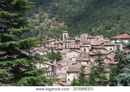 View of Italian Scanno old town in province of L'Aquila the Abruzzo region